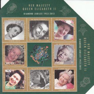 St Lucia 2012 Diamond Jubilee 6v Sheet Queen Elizabeth Ii Lifetime Service photo