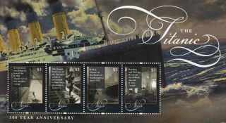 Nevis 2012 Titanic 100 Year Anniversary 4v Sheetlet Rms Sinking Ships photo