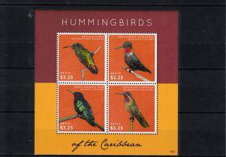 Nevis 2013 Hummingbirds Of Caribbean 4v Sheetlet Antillean Mango Birds photo