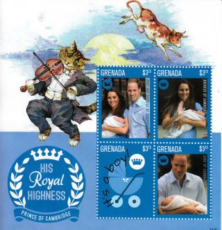 Grenada 2013 Birth Prince George Royal Baby 4v M/s William Kate Middleton photo