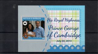 Antigua & Barbuda 2013 Birth Prince George Royal Baby 1v S/s William Kate photo