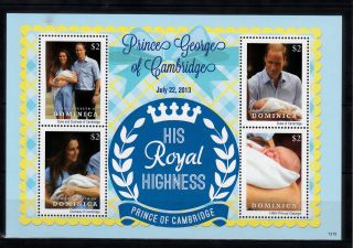Dominica Commonwealth 2013 Birth Prince George Royal Baby 4v Ms William Kate photo