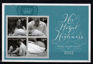St Kitts 2013 Birth Prince George Royal Baby 4v M/s William Kate Middleton photo