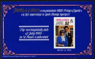 Turks & Caicos 490b Booklet Pane Charles & Diana Wedding photo
