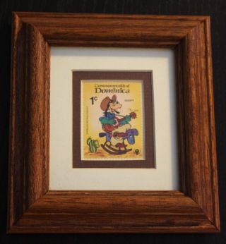 Custom Made Framed 1979 Goofy Stamp,  Oak Frame And Double Matted photo
