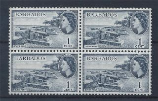 Barbados 1953 Qeii Sg289 1c Indigo Block 4 A 002 photo