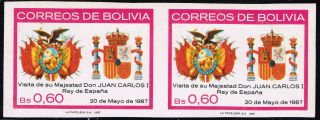 Bolivia 1987 Imperforated Pair Royalty Visit Spain ' S King photo