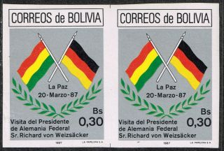 Bolivia 1987 Imperforated Pair Visit German President Germany photo