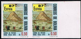 Bolivia 1987 Imperforated Pair Expo Philatelic Exfivia 87 ' photo