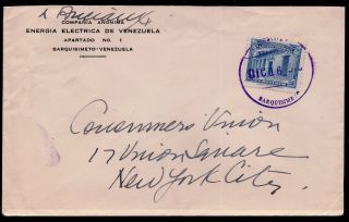 Venezuela 1943? Ww Ii Cover From Barquisimeto - Consumers Union,  Ny;sc 370 photo