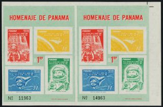 Panama C277a Uncut Pair Space,  John Glenn photo