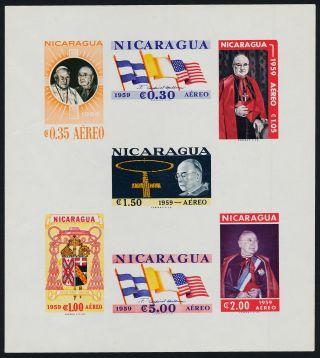 Nicaragua C436a Imperf Pope John Xxiii,  Cardinal Spellman,  Flags,  Crest photo