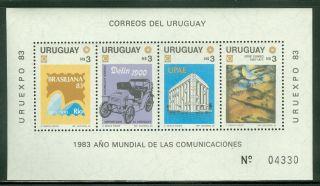 Uruguay S/s Scott 1143a Uruexpo World Communication Year Cv $6 photo