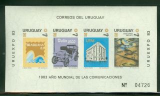 Uruguay S/s Scott 1143a Imperf Uruexpo World Communication Year Cv $6 photo