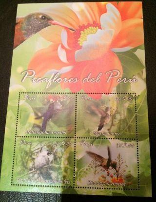 Peru Souvenir Sheet Bird Pica Flor photo