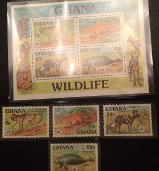 Wwf Ghana Ss 1977 : Monkey,  Animals,  Dugong/manatee,  Squirrel +set photo
