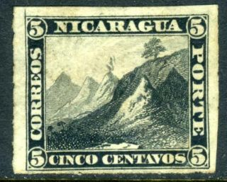(f834) Nicaragua 1877 First Issue 5¢ Black Rouletted photo