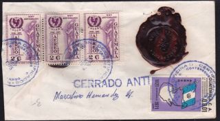 Guatemala 1975 Registered - Insured Cover,  Two Wax Seals From Quezaltenango (ws112) photo