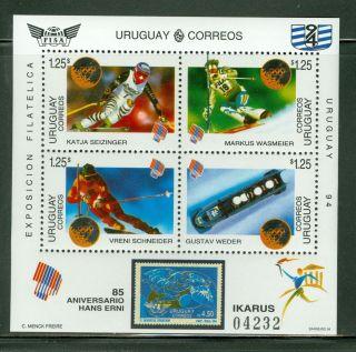 Uruguay Scott 1526 Perf & Imperf Winter Olympic Medal Winners Same Serial photo
