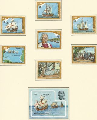 Nicaragua Discovering America Columbus Ships Scott 1187/1190 C1027/1030 photo