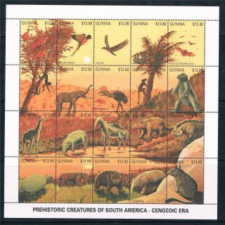Guyana 1990 Prehistoric Animals 20v Sheet Sg 3007/26 photo