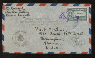 Venezuela Diplomatic 1940 Airmail Usa Embassy To Alabama photo