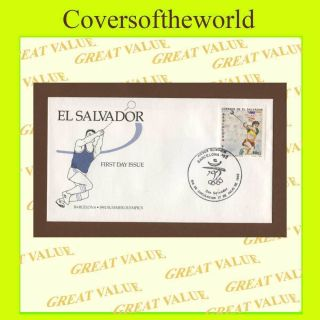 El Salvador 1992 Barcelona Olympics Hammer First Day Cover photo