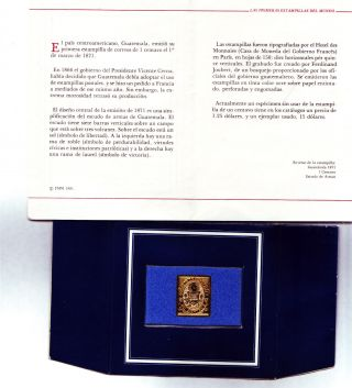 Gold Plated Guatemala 1 Stamp.  Franklin,  Mexico. photo