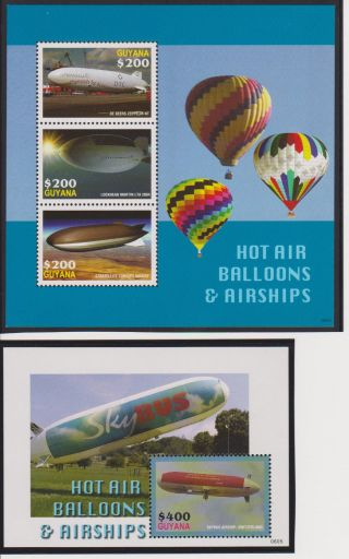 Guyana Balloons And Airships Sheet Of 3 & S/s Scott 3935 - 3936 photo