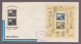 Nicaragua Airmail C509 Stamp Centenary S/s Fdc photo