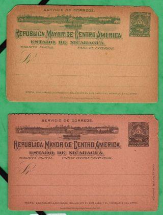 Nicaragua,  2 1899 Postal Stationary Cards photo