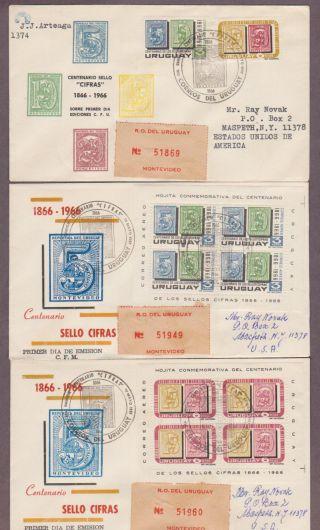 Uruguay C309 - C310 & C309a - C310a Stamp Centenary - 3 Registered Fdcs To Usa photo