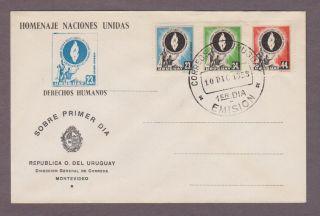Uruguay C179 - C181 Human Rights Anniversary Fdc photo