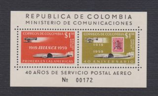 Colombia C350 S/s,  40th Anniversary Air Post,  Vf Og Nh photo