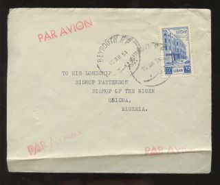 Lebanon 1954 Airmail To Nigeria. . .  Bishop Patterson. . .  Onicha photo