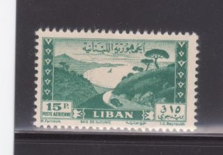Lebanon Sc C146 15p Dark Green 1949 Airmail,  Lebanese Village Lh Og F/vf photo