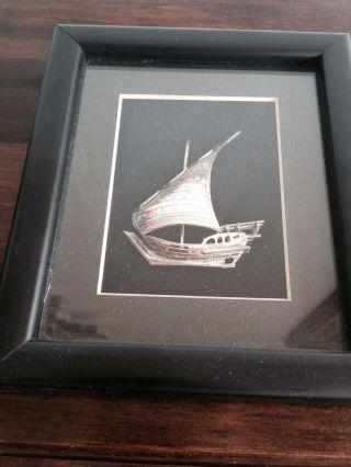 Antique Saudi Arabia Islamuc Arabic Solid Silver Boat In Black Frame Hallmarked photo