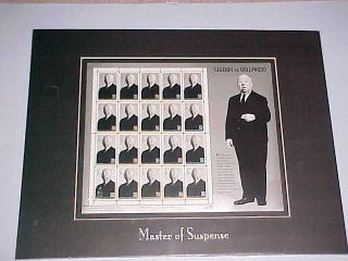 Alfred Hitchcock,  Legends Of Hollywood,  20 Stampsx32 Cents,  Fremed Inmatted Pane photo