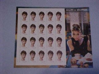 Audrey Hepburn,  Legends Of Hollywood,  20 Stampsx37 Cents, ,  No Hinged photo