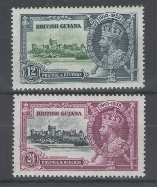 British Guiana The 1935 Gv Silver Jubilee 12c & 24c Mounted Cat £21.  50 photo
