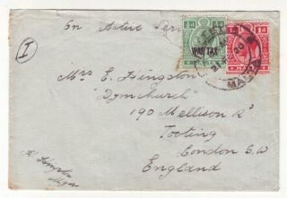 1920 Malta War Tax Stamp On Active Service Cover To London,  England photo