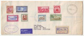 1962 Western Samoa Registered Cover Apia To Boston,  Usa photo