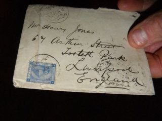 1891 Alexandria Egypt To Liverpool Cover With Sphinx/pyramid Stamp photo