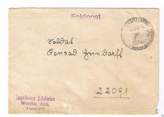 Germany Wwii Feldpost Cover Worlitz (anh) Cancel 1943 photo