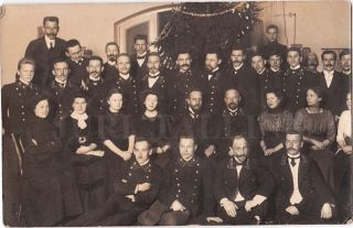 1910 Imperial Russia Postal - Telegraph Office Clerks Year Holiday Group Photo photo