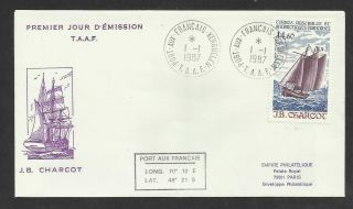 Taaf French Antarctic 1987 Jb Charcot Ship 1v Fdc photo
