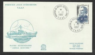 Taaf French Antarctic 1987 Admiral Mouchez Ship 1v Fdc photo