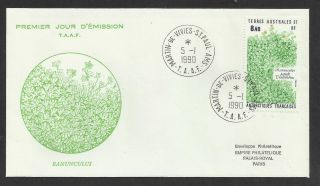 Taaf French Antarctic 1990 Rununculus Plant 1v Fdc photo