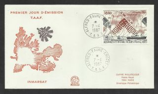 Taaf French Antarctic 1987 Inmarsat Satellite 1v Fdc photo