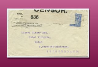 Censor Opened 2 - 1/2 Penny Cover To Montreux,  Switzerland Posted In 1916. photo